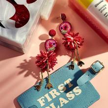 Bohemian Flamingo Drop Beaded Earrings Women 2019 Ice Cream BA Jewelry Girl Gift Statement Tassel Cute Animal Fashion Bird Party