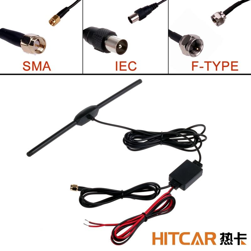 Voiture numérique TV Tuner DVBT ISDB Radio FM antenne amplificateur SMA IEC F Type connecteur prise pour voiture tableau de bord DVD tête unité stéréo