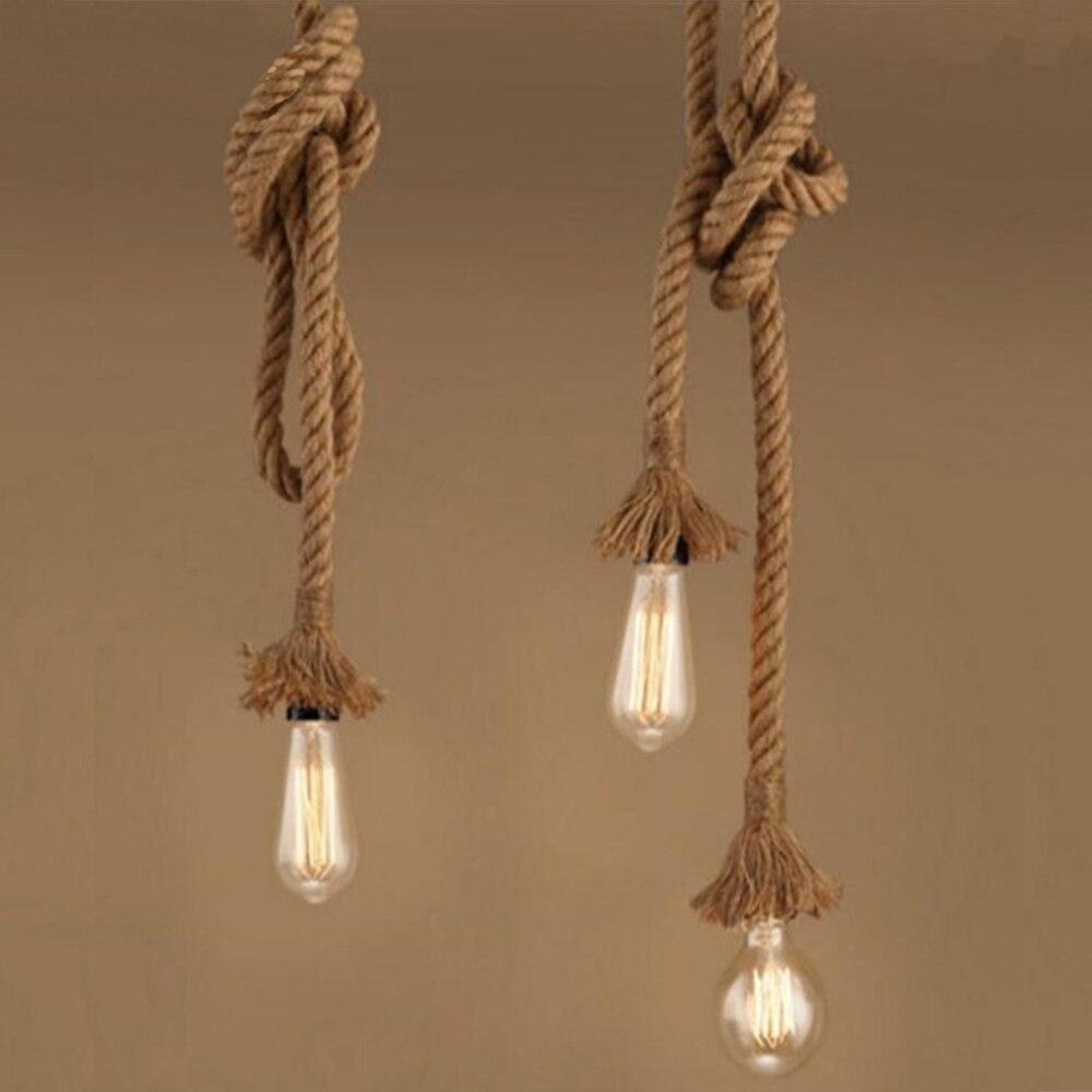 Hemp Rope Retro Pendant Lamps Nordic Style E27 Edison Bulb Light Fixture Vintage Hanging Lighting Fixtures Vintage Lamps Pendant Lights     - title=