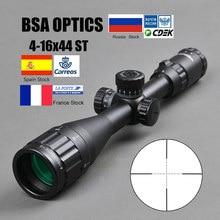 Mira óptica BSA 4-16x44 ST, mira óptica ajustable, mira telescópica verde y roja iluminada, con miras de caza, mira táctica Airsoft
