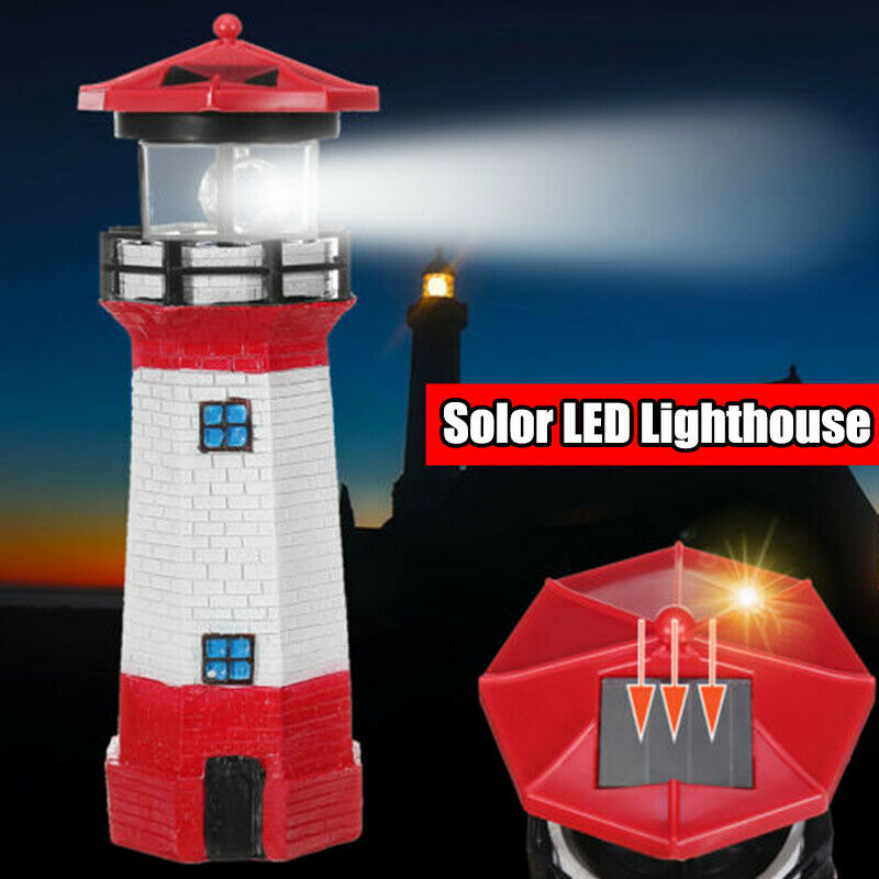 LED Solar Powered Lighthouse Statue Rotating Garden Yard Outdoor Lighting Decor