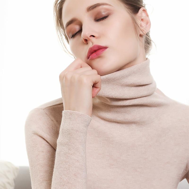 Autumn and Winter New Cashmere Sweater Women High Collar Pullover Fashion Sweater Warm Bottom SweaterPullovers