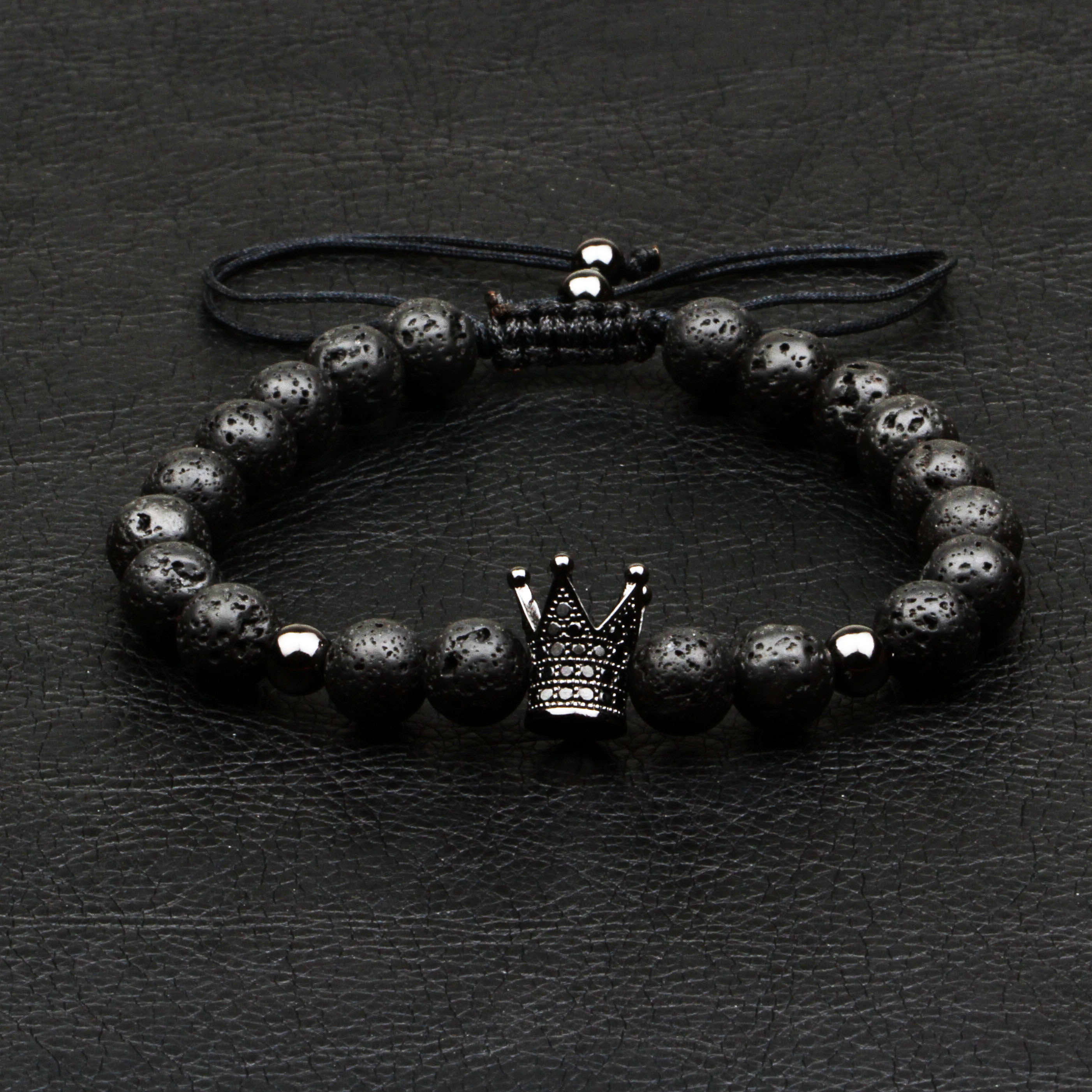 1Pcs New Design Fashion Men Bracelet Natural 8mm Lava Stone Handmade Weave Crown Strand Bead Bracelets For Men Classic Jewelry