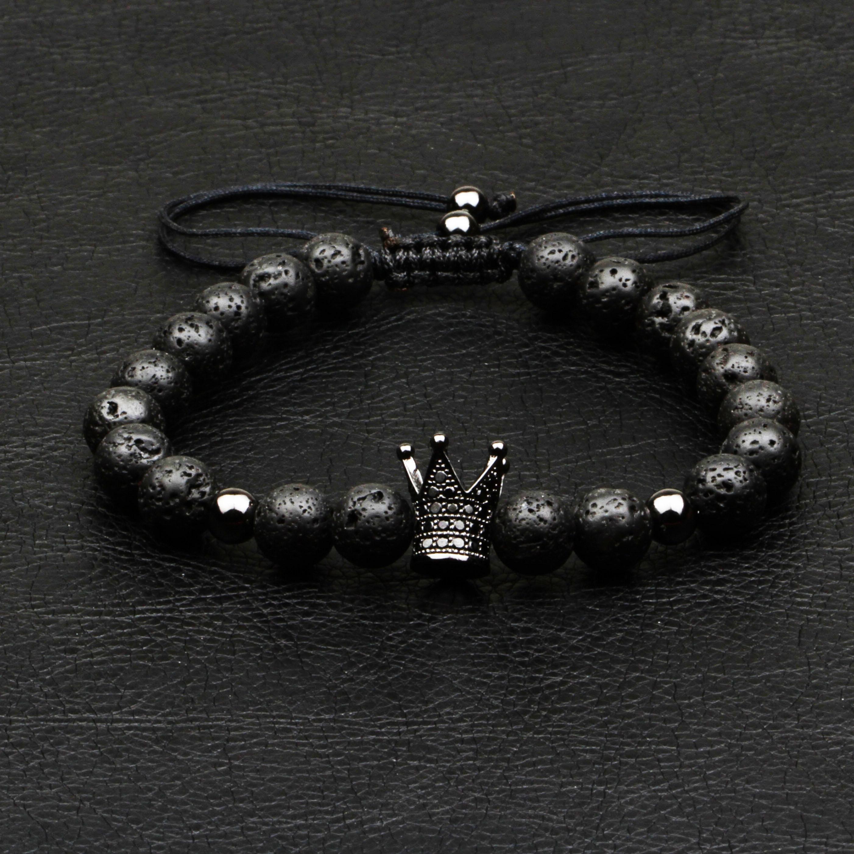 1Pcs New Design Fashion Men Bracelet Natural 8mm Lava Stone Handmade Weave Crown Strand Bead Bracelets For Men Classic Jewelry