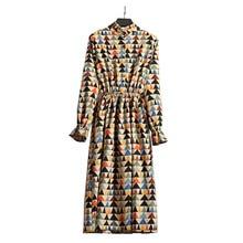 Winter Stand Collar Corduroy Dress Women Vestidos Elastic Waist Button Vintage Floral Print Dress Lady Long Sleeve A Line Tunic цена 2017