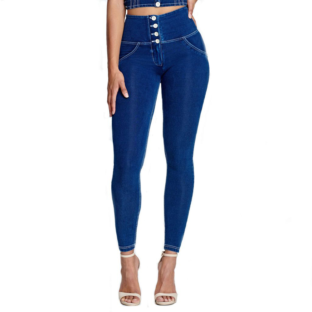 Melody 4 Buttons Fly Dark Blue Denim Jeans High Waist White Stitching Skinny Slim Women Pants Push Up XXXL Plus Size Jeans Femme