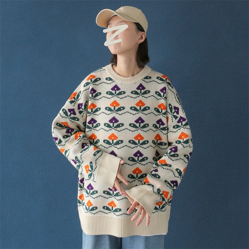 UYUK2019 Winter On The New Chic Loose Fashion Print Ed Patterns Retro Casual Turtleneck Round Neck Knitting Sweater Clothes