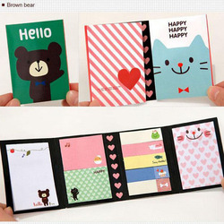 Portable Notes Paper Self-Adhesive Four Fold Flags Notes Tab Post Sticker Note Marker Memo Sticky Cute Animals Colorful Bookmark