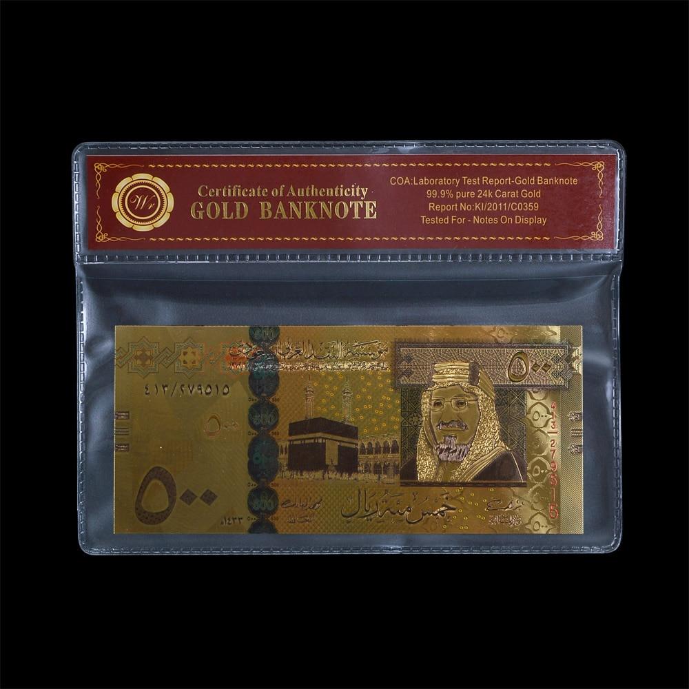 Billetes coloridos de aluminio dorado, marco de plástico, billetes falsos, billetes de banco, venta al por mayor, Arabia Saudita, 500