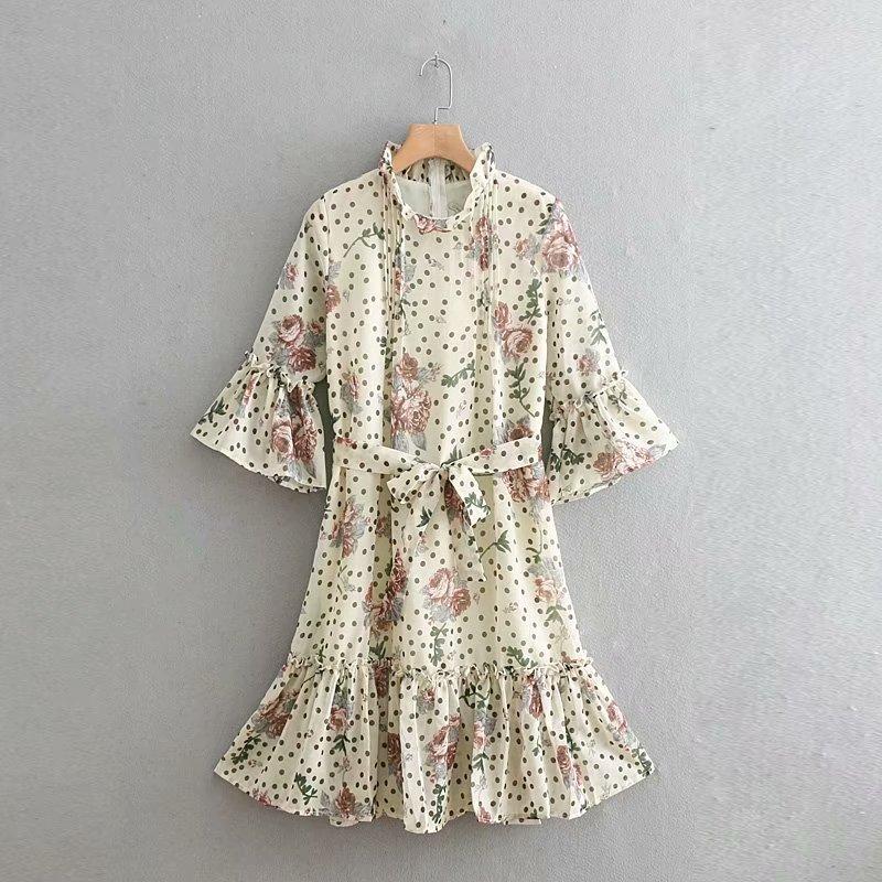 Floral-Print Chiffon Goddess Dress Mid-length 2019 WOMEN'S Dress Lace Collar Bell Sleeve Flower Skirt