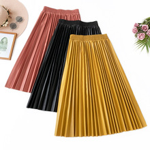 AcFirst Autumn Winter Yellow Red Women Skirts High Waist A-Line Mid Calf Clothing Plus Size Casual Faux Leather