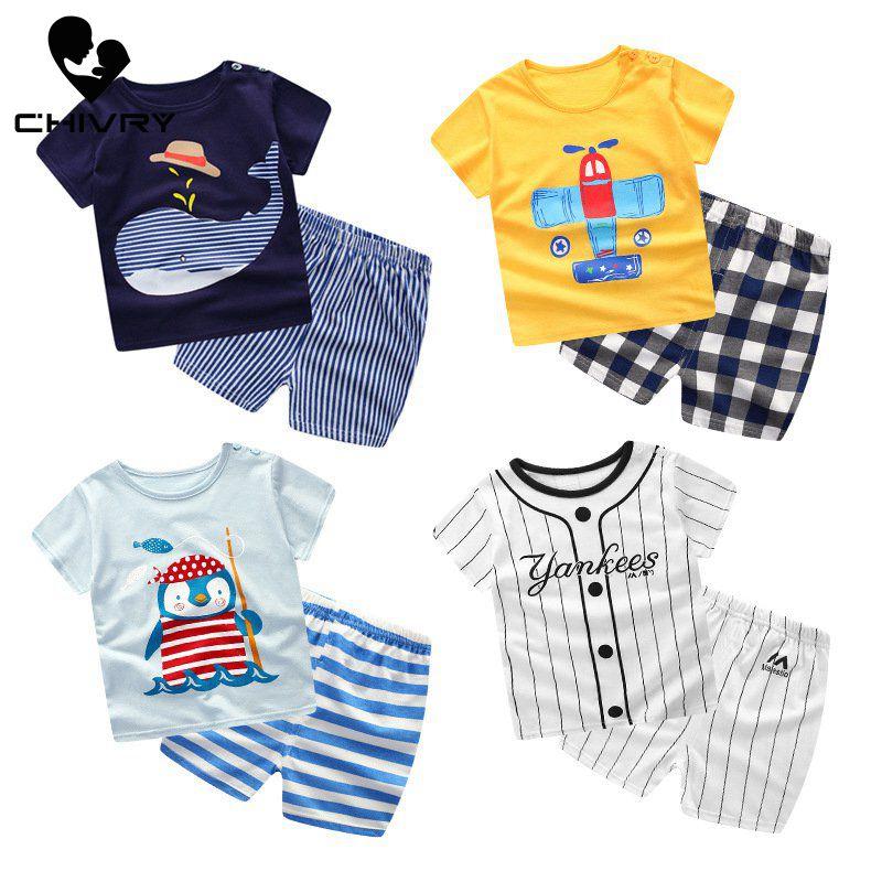 New 2020 Summer Kids Boys Clothing Set Cartoon Print Cotton Short Sleeve O-Neck T-Shirt Tops with Shorts Baby Girls Clothing Set