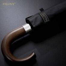 PALONY Neue Ankunft Automatische Männer Regenschirm Drei Falten Holzgriff Schwarz Beschichtung Sonne Falten Regenschirme 10K Winddicht