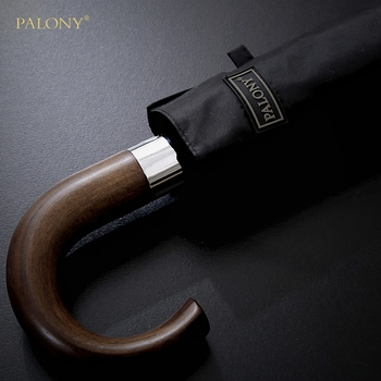 PALONY New Arrival Automatic Men Umbrella Three Fold Wooden Handle Black Coating Sun Folding Umbrellas 10K Windproof wind resistant three fold automatic umbrella rain women auto luxury big windproof umbrellas men black coating 10k parasol gift