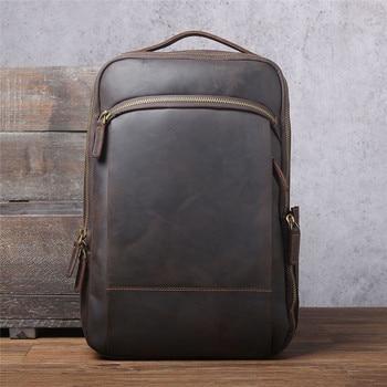 PNDME vintage crazy horse cowhide men large capacity backpack simple fashion natural genuine leather women travel laptop bagpack
