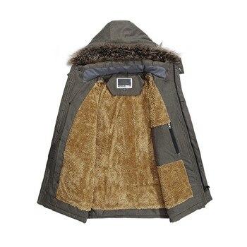 Winter Mens Warm Fur Lining Parka Fur Collar Hoody Mid Long Jacket Plus Size 7XL Windbreaker Overcoat Safari Style Man Parkas