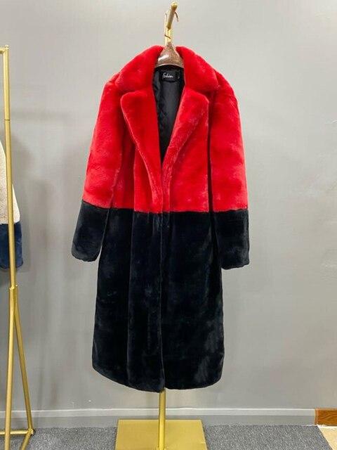 2020 hiver femmes haute qualité Faux lapin fourrure manteau de luxe longue fourrure manteau revers pardessus épais chaud grande taille femelle en peluche manteaux 4