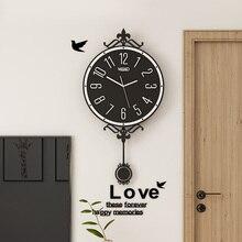 Europe Swingable Wall Clock Pendulum Modern Design Silent Hanging Watch Simple Living Room Decoration Gift