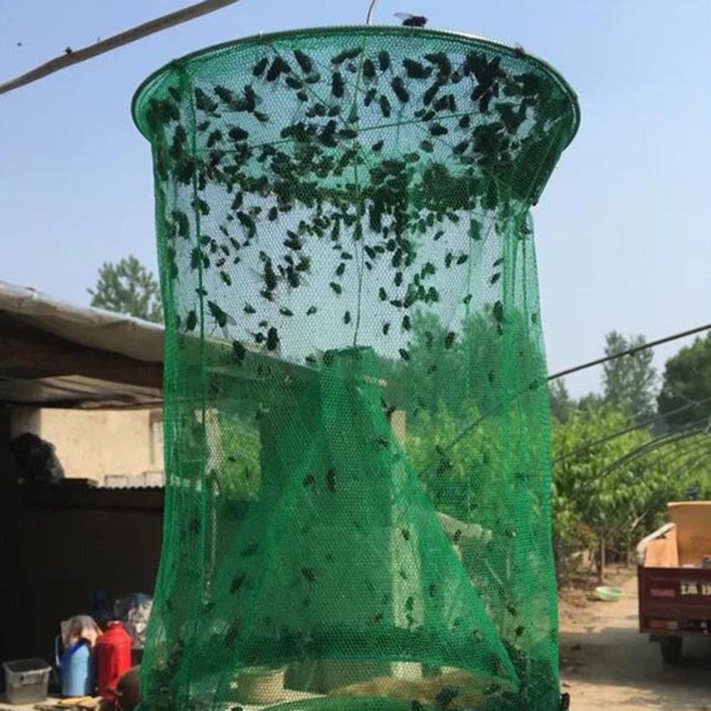 Yiyaqeanca Green Fly Cage Fly Trap Environment-Friendly Fly Trap Folding Hanging Fly Killer Fly Cage Fly Cage Catcher Fly Tool