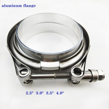 "2.5-4..0"" Stainless steel Vband clamp male female aluminum flanges sets for Auto Exhaust V Band Clamp nylon nut High anti-rust"