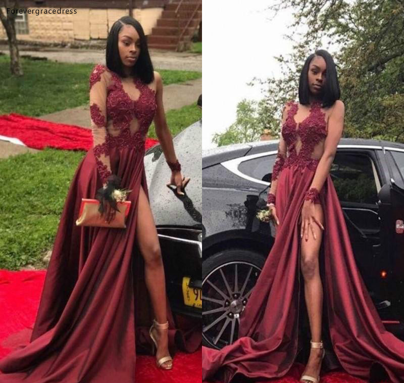 2019 Dark Red Prom Dress Black Girls High Slit Long Sleeves Formal Holidays Wear Graduation Evening Party Gown Plus Size