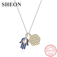 SHEON 100% 925 Sterling Silver Devil's Eye & Lucky Flower Blue Zirconia Pendant Necklaces Women Fashion Silver Jewelry