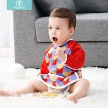 Babadores de bebê inodoro da alimentação da luva longa impermeável do bebê da flauta feliz pull para 6-24 meses do bebê