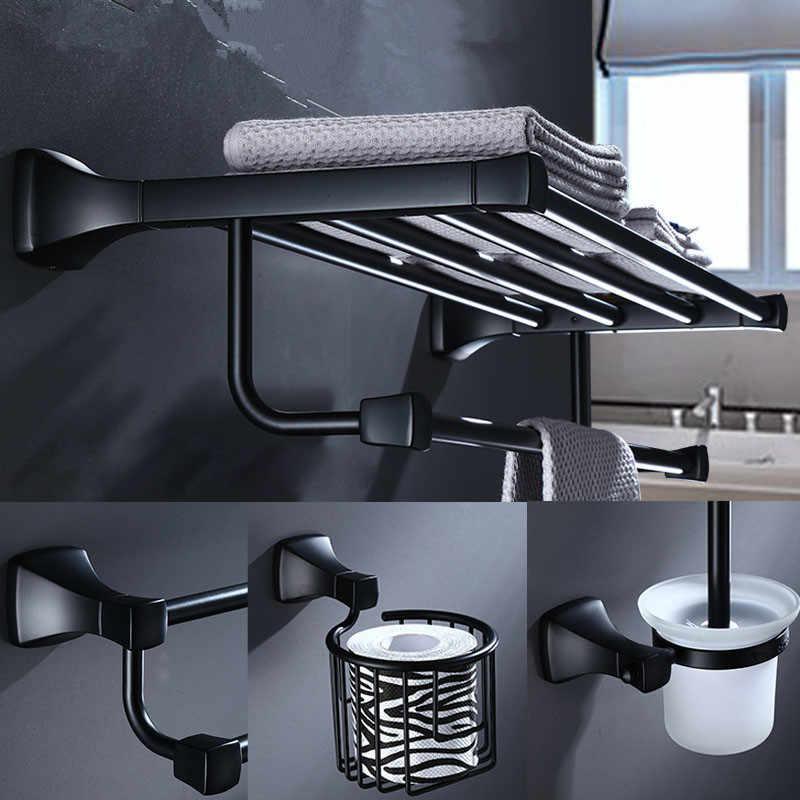 אביזרי אמבטיה מחזיק מגבת נייר בעל, פינת מדף, מגבת מתלה, אסלת מברשת בעל אלומיניום שחור חומרת אמבטיה סט