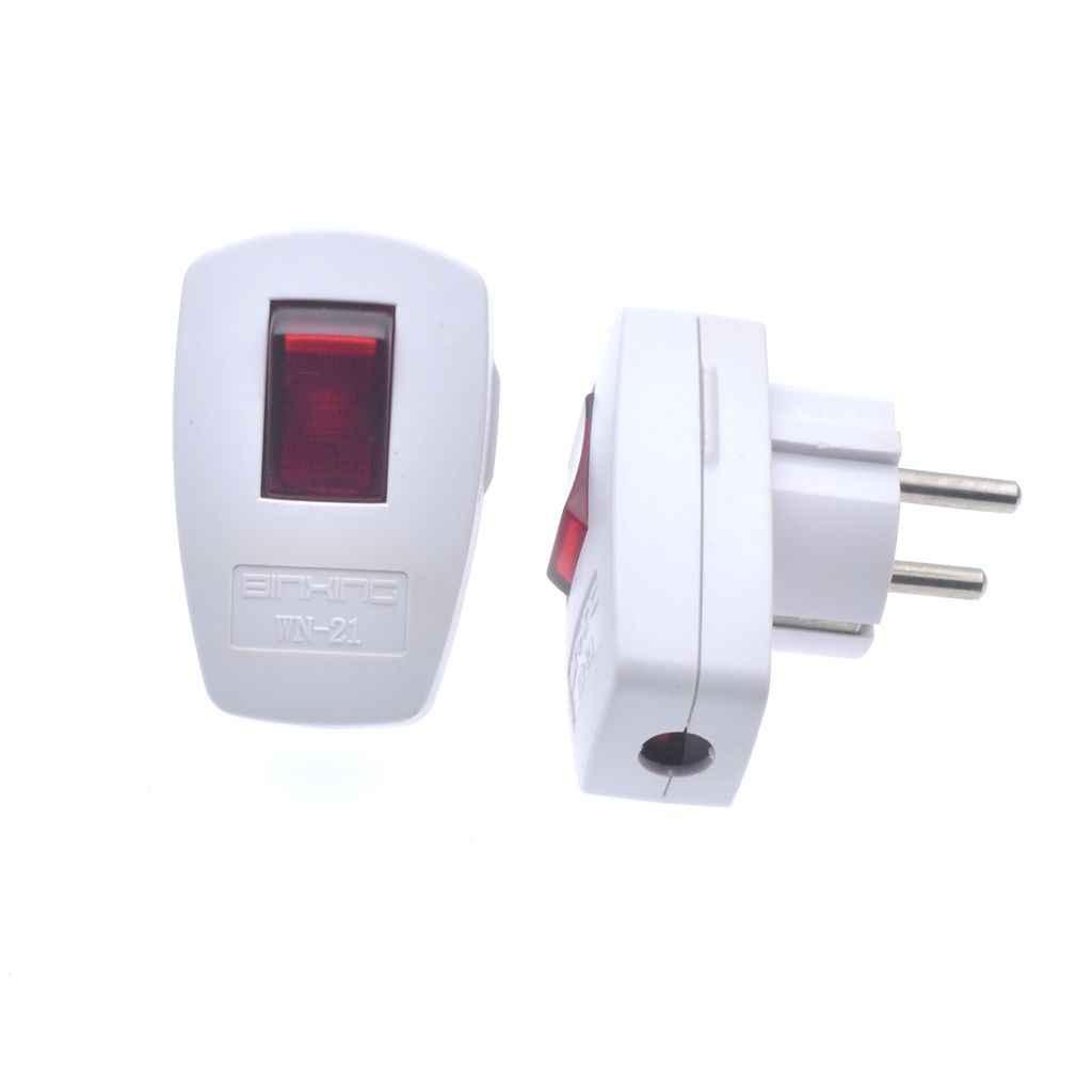 250V 10A AC Schuko almanya tipi F yeniden şarj edilebilir priz 250V 16 Amp W/LED göstergesi anahtarı ayrılabilir avrupa fiş