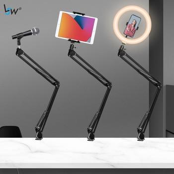 Regulowane biurko stojak z ramieniem z uchwytem na telefon, Boom zawieszenie stojak Adapter Clip on na mikrofon Smartphone Tablet lampa pierścieniowa