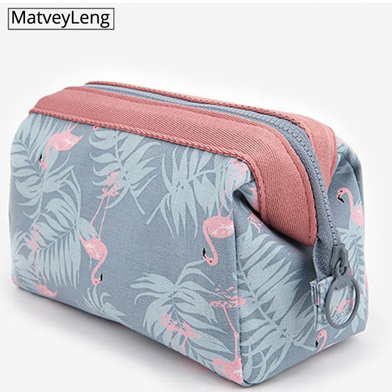 Travel Make Up Bags Animal Flamingo Cosmetic Bag  Beauty Wash Organizer Toiletry Storage Bag Girl Function Makeup Case