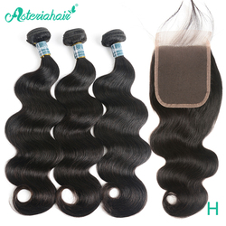 Mechones de cuerpo peruano ondulado con cierre, cabello humano de 100% prearrancado, 3 mechones con cierre de encaje, pelo Remy negro Natural de Asteria