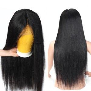Lanqi прямые человеческие волосы парики 4x4 кружева закрытие парик натуральные волосы производства Бразилии парики человеческих волос парики ...