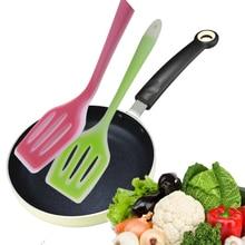 Антипригарная силиконовая шлицевая кастрюля кухонная лопатка жареная Лопата Гибкая силиконовая сковорода Тернер лопатка