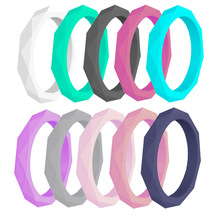 10PCS/LOT Silicone Rings New Wedding Diamond Pattern Rubber Bands Flexible Environmental Protection Finger Ring