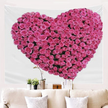 цена на 3D Love Romantic Rose Tapestry Print Flowers Art Carpet Scenery Tapestry Home Decor Wall Hanging Couple Bedroom Boho Tapestries