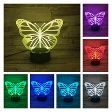 Animal 3D Lamp  LED Night Light USB Illsuion Multicolor Touch Remote Switch Butterfly Table Lamp Kid Toy  Gifts for Birthday