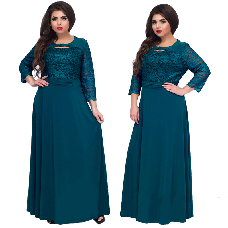 Wipalo 5XL 6XL 2019 New Women Long <font><b>Dress</b></font> Maxi Autumn Winter Big <font><b>Sizes</b></font> Lace Patchwork <font><b>Dress</b></font> <font><b>Plus</b></font> <font><b>Size</b></font> <font><b>Sexy</b></font> Black Party <font><b>Dresses</b></font> image