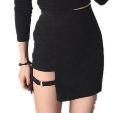 Летняя модная черная юбка в Корейском стиле Харадзюку сексуальная