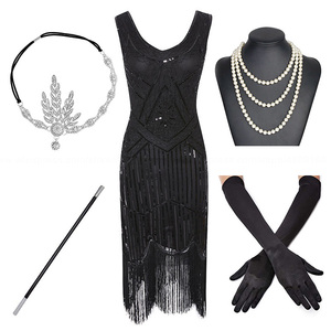 Image 2 - Plus Size 1920s Gatsby Sequin Fringed Paisley Art Deco Party Sleeve Dress with 20s Accessories Set for Wommen S,L,XL,XXL,3XL,4XL