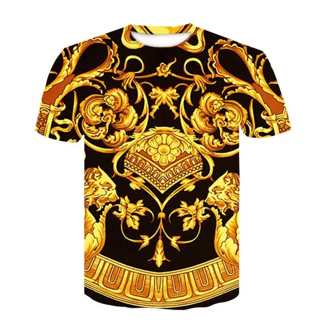 Unisex Summer Luxury Baroque Deisgn Golden Vintage T Shirts Short Sleeve Tees