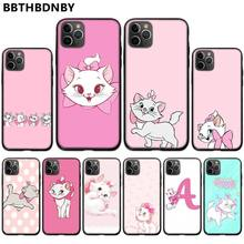 Pink Tsundere Marie Cartoon cute kitten cat Black Phone Case Cover For iphone 5 5S SE 5C 6 6S 7 8 plus X XS XR 11 PRO MAX black cover lovely cat for iphone x xr xs max for iphone 8 7 6 6s plus 5s 5 se super bright glossy phone case