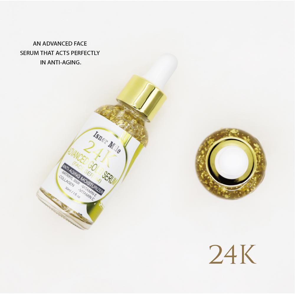 isner mile 24k avancado ouro soro facial anti rugas endurecimento clareamento essencia hidratante iluminar anti envelhecimento