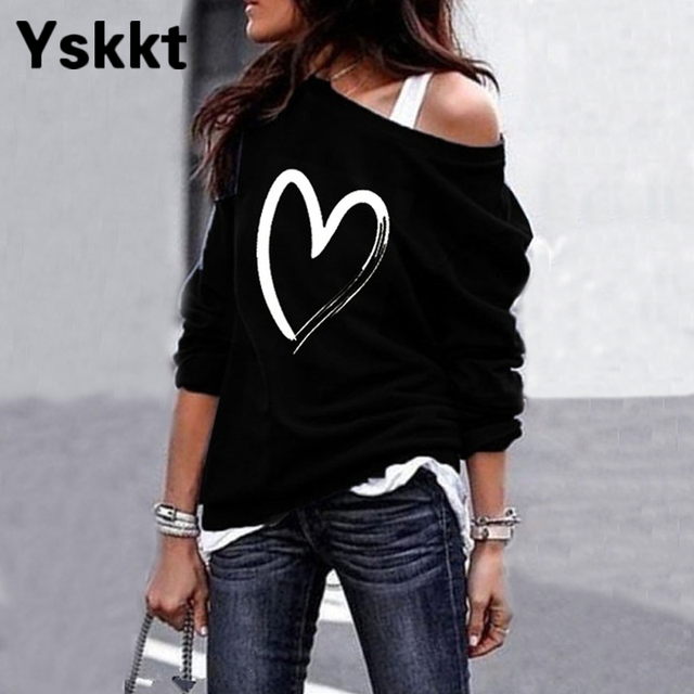 Yskkt Women's Pullover Sweatshirt Heart Printed Long Sleeve One Shoulder Tops Autumn Winter Sweat Shirts Woman Casual Top 3