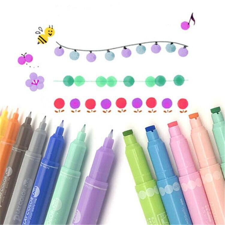 2020 Sharkbang Kawaii Double Point Pen DIY Graffiti Drawing Painting Play Color Dot Pen Art Marker Pen School Office Stationery