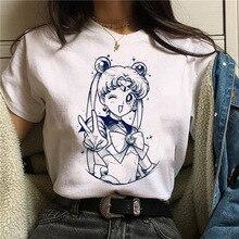 WVIOCE Sailor Moon Women Tshirts Summer Harajuku Kawaii Cats Printed Tshirt Leisure Female
