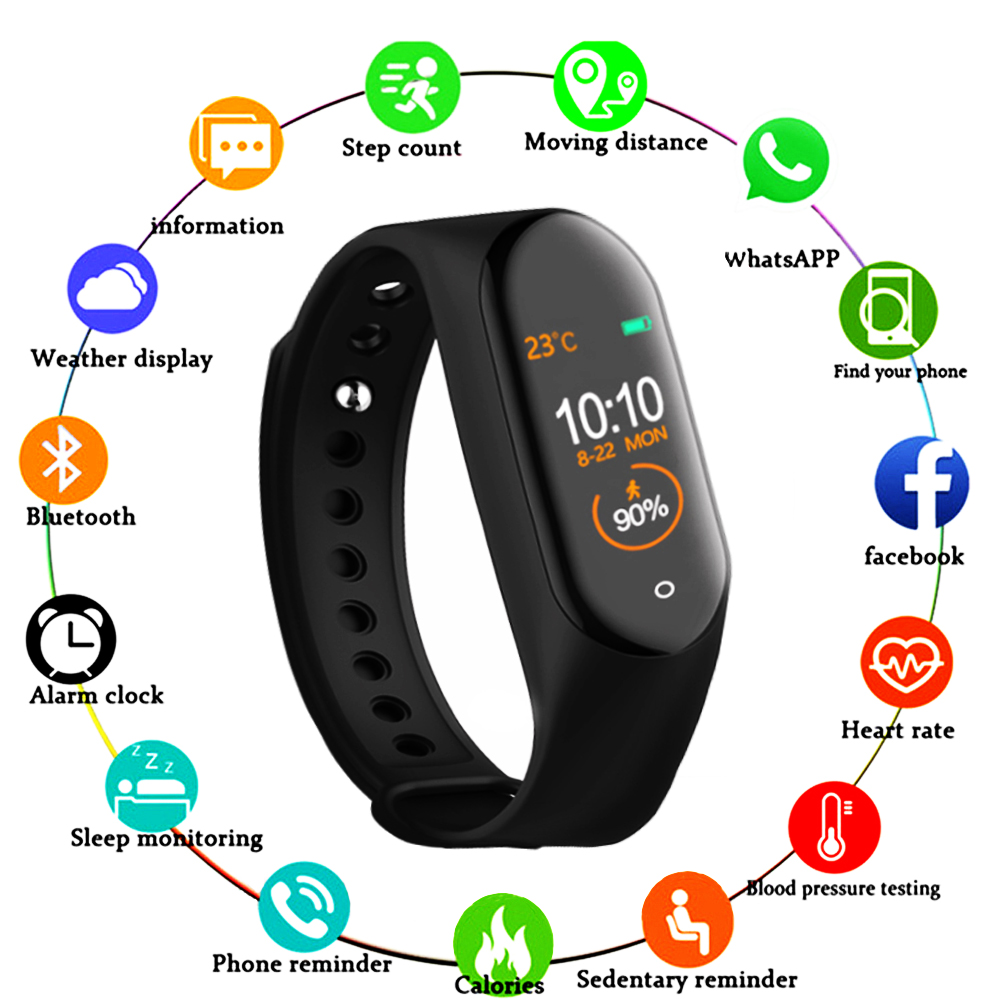 <font><b>M4</b></font> <font><b>Smart</b></font> <font><b>Band</b></font> Wristband Watch Fitness Tracker Bracelet Color Touch Sport Heart Rate Blood Pressure Monitor Men Women Android image