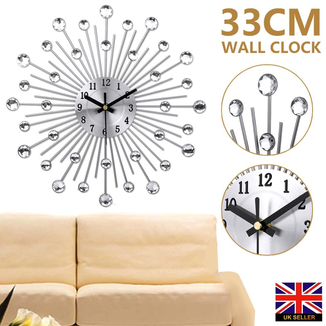 Fashion Diamond Ball Wall Quartz Clock Large Metal Flash Diamond Wall Watch Clock Silent Movement Living Room Wall Decor 33cm