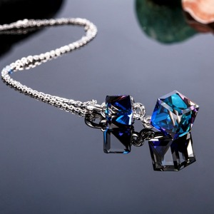 Image 2 - Embellished with Crystal from Swarovski Women Necklace Square Double Crystal Cube Pendant Necklace Fashion Jewelry Female Collar