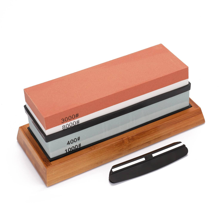 Apontador de faca 400/1000 3000/8000 grit premium pedra de amolar corte conjunto pedra afiar para lâminas não base deslizamento cortador mó